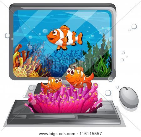 Computer screen with clownfish swimming illustration