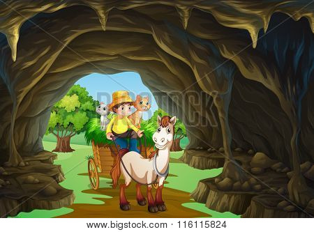 Man riding wagon through the cave illustration