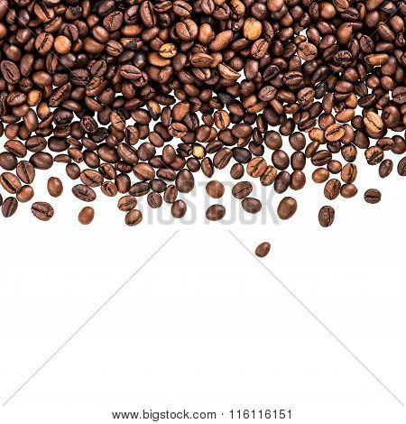 Flying Coffee Beans. Falling Coffee Beans Isolated Over White With Sample Text. Cafe Menu Or Brochur