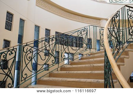 Elements of a beautiful spiral staircase in the building
