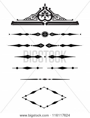 Borders decorative vignette elements set isolated on white for design