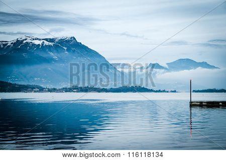 Last Light Of The Day On Lake Garda, Italy.
