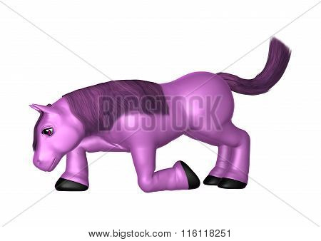 Purple Pony On White
