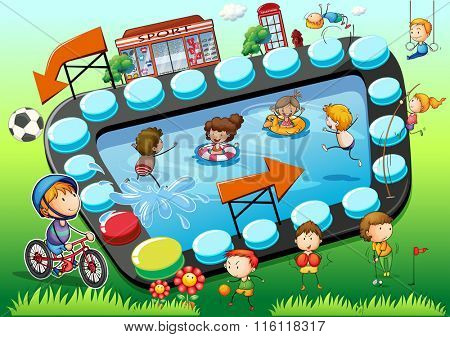 Game template with children and sports background illustration