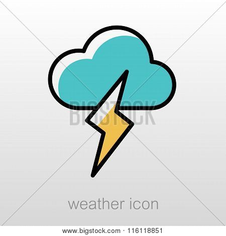 Cloud Lightning Icon. Meteorology. Weather