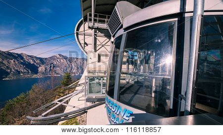 Cabin Of A Cableway Stop At The Top Station.