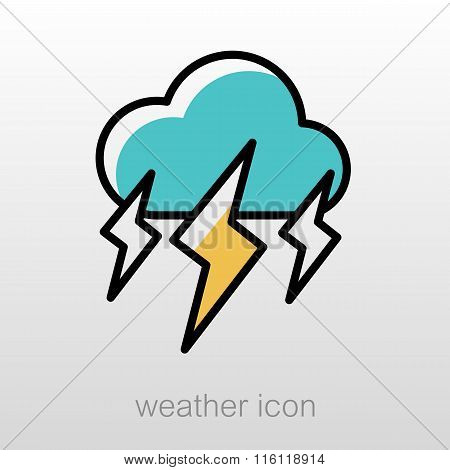 Storm Cloud Lightning Icon. Meteorology. Weather