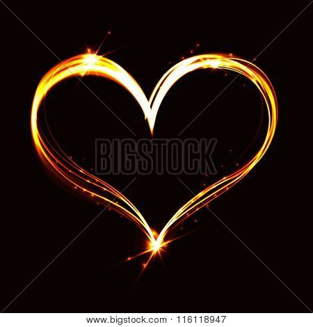 Abstract Flare Heart On Dark Background.
