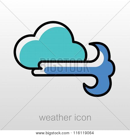 Cloud Blows Wind Icon. Meteorology. Weather