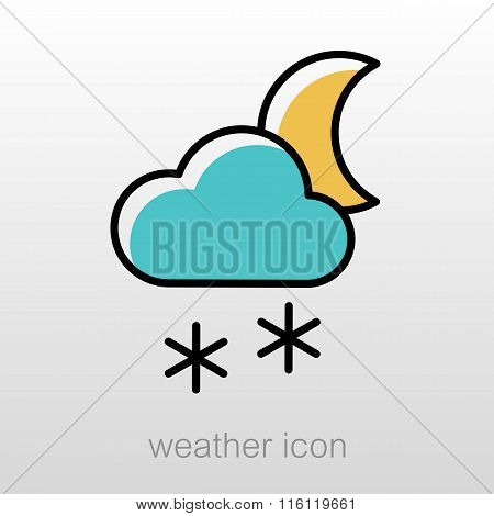 Cloud Snow Moon Icon. Meteorology. Weather