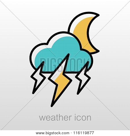 Moon Storm Cloud Lightning Icon. Weather