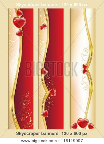 Set of 3 Skyscraper web banners with hearts