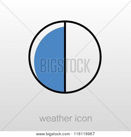 Half Moon Outline Icon. Meteorology. Weather