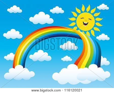 Rainbow, sun and clouds