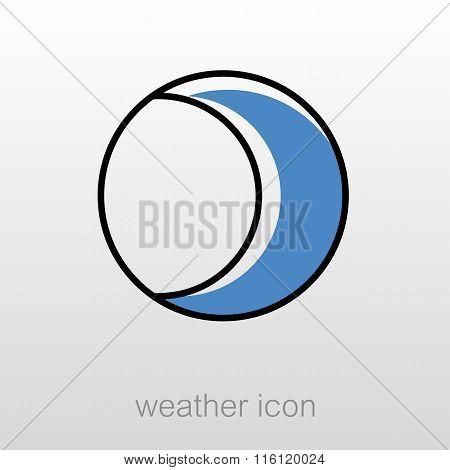 Young Moon Outline Icon. Meteorology. Weather
