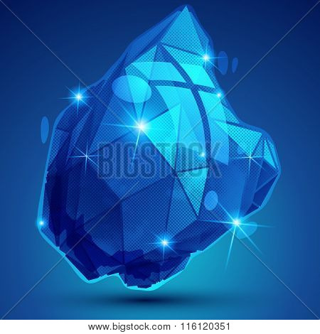 Blue Plastic Pixel Dimensional Object Created From Geometric Figures, Shiny Dotted Complex F