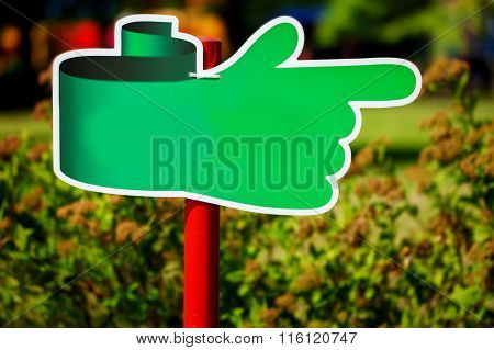 Notice Board, Green Blank Plate For Text In The Park On Natural Background.