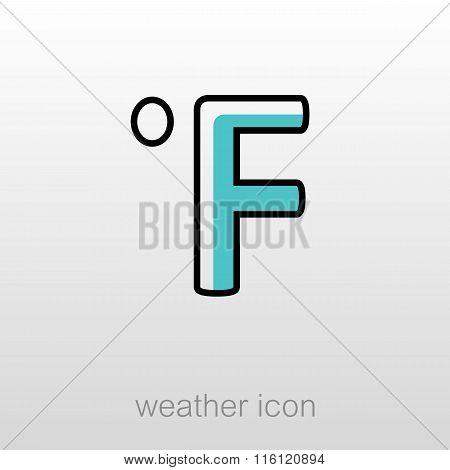 Degrees Fahrenheit Icon. Meteorology. Weather