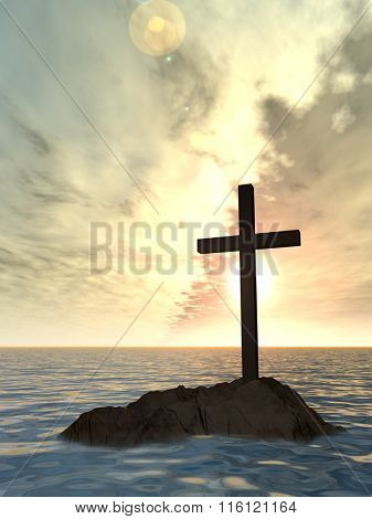 Conceptual Christian cross on a little rock island in the ocean or sea with waves and the sky at sunset