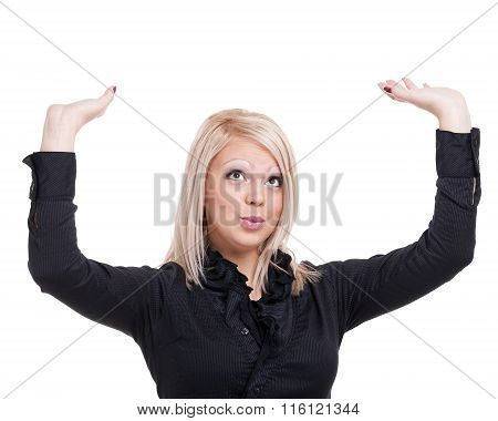 Happy young business woman showing copy space isolated on white