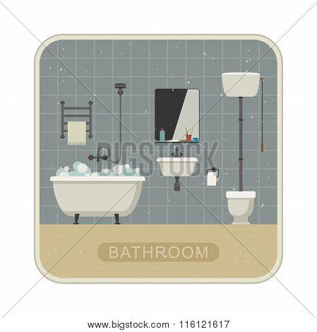 Bathroom interior with grunge texture.
