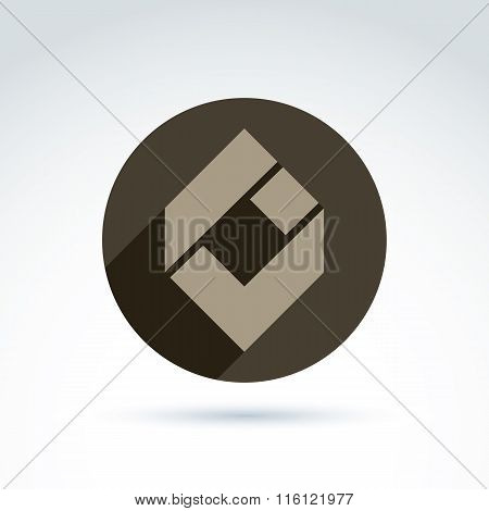 Vector Conceptual Corporate Element. Abstract Geometric Accept Symbol, Compound Checkmark Placed In