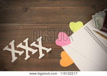 Xxx Love Sign, Opened Notepad And Male Wallet With Cash