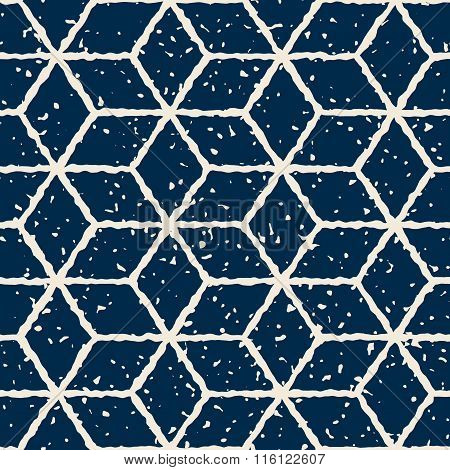 Vector Seamless White Navy Color Hand Drawn Distorted Lines Star Shape Grunge Retro Pattern