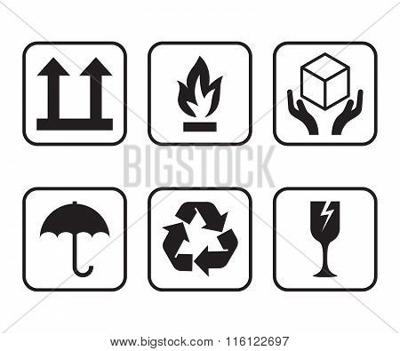 Vector set of symbols for packaging of cardboard boxes.