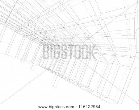 Digital Graphic Background, Wireframe 3D Room