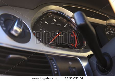 Speedometer On Dashboard In The Modern Car