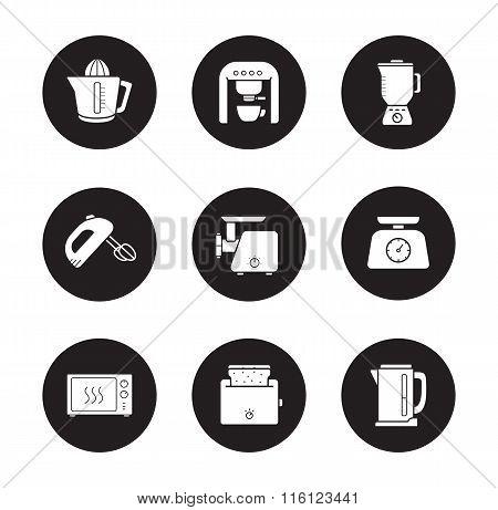 Kitchen electronics icons set