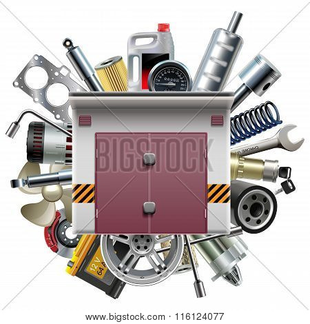 Vector Garage With Car Spares