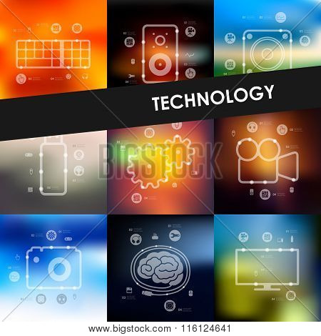 technology timeline infographics with blurred background