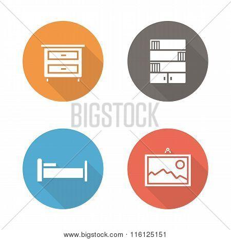 Bedroom flat design icons set