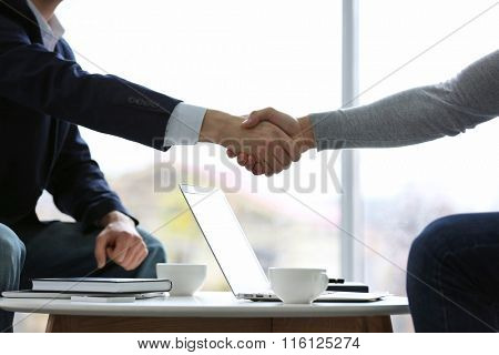 Two men shaking hands in cafe