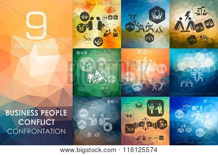 business people conflict infographic with unfocused background