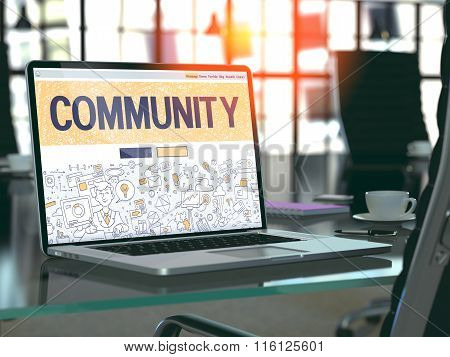 Laptop Screen with Community Concept.