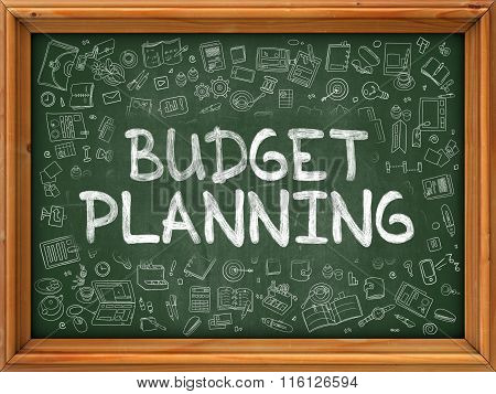 Green Chalkboard with Hand Drawn Budget Planning.