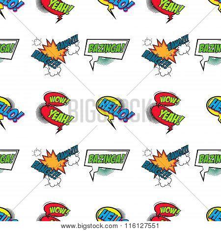 Set Of Comic Text, Pop Art Style Seamless Pattern