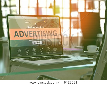 Advertising Concept on Laptop Screen.