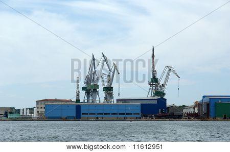 Marine Cargo Port. Cranes. Pula, Croatia