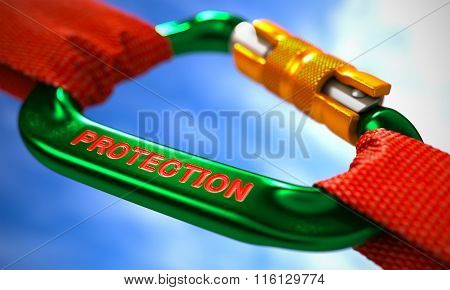 Protection on Green Carabine with a Red Ropes.