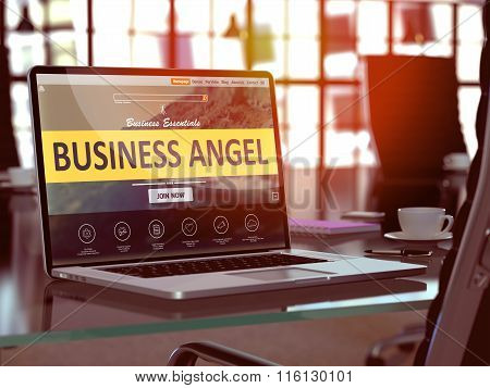 Laptop Screen with Business Angel Concept.