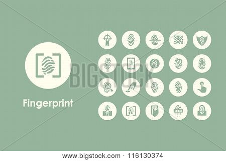 Set of fingerprint simple icons