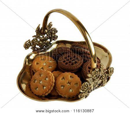 Bronze Basket With Cookies