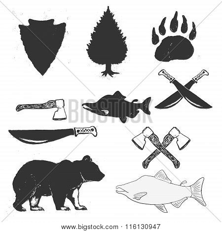 Wild Forest Hand Drawn Labels Set