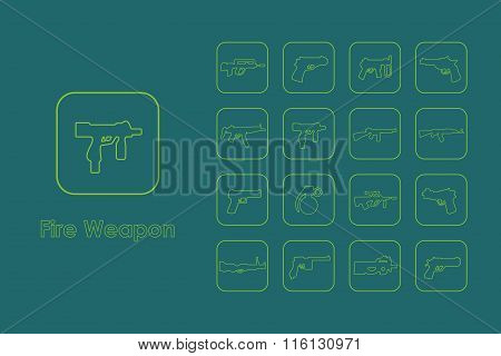 Set of fire weapon simple icons