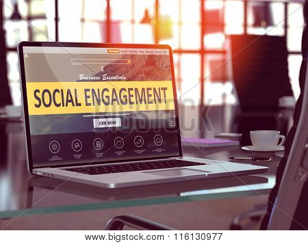 Social Engagement Concept on Laptop Screen.