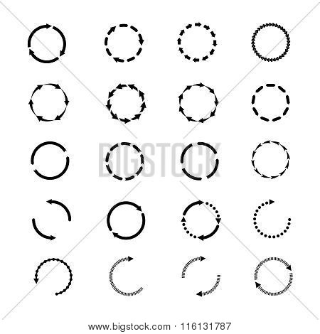 Circle arrows vector icons set. Reload rotation web signs collection